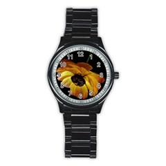 Ranunculus Yellow Orange Blossom Stainless Steel Round Watch