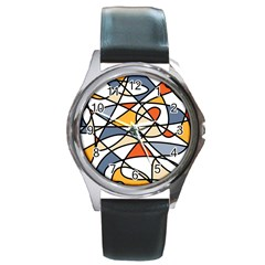 Abstract Background Abstract Round Metal Watch