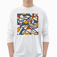 Abstract Background Abstract White Long Sleeve T Shirts