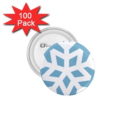 Snowflake Snow Flake White Winter 1 75  Buttons (100 Pack)