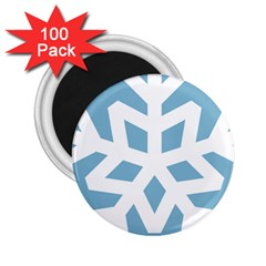 Snowflake Snow Flake White Winter 2 25  Magnets (100 Pack)  by Nexatart