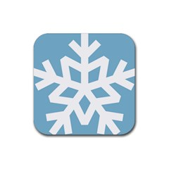 Snowflake Snow Flake White Winter Rubber Square Coaster (4 Pack)