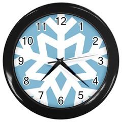 Snowflake Snow Flake White Winter Wall Clocks (black)