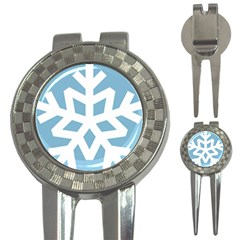 Snowflake Snow Flake White Winter 3 In 1 Golf Divots