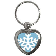 Snowflake Snow Flake White Winter Key Chains (heart)  by Nexatart