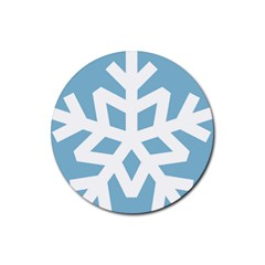 Snowflake Snow Flake White Winter Rubber Coaster (round)