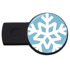 Snowflake Snow Flake White Winter Usb Flash Drive Round (2 Gb)