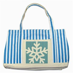Snowflake Snow Flake White Winter Striped Blue Tote Bag