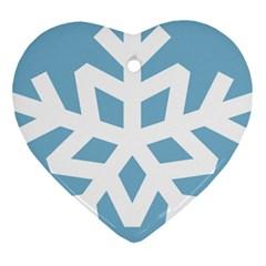 Snowflake Snow Flake White Winter Heart Ornament (two Sides)