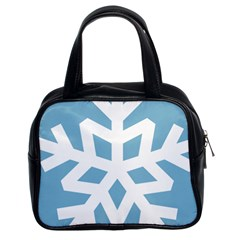 Snowflake Snow Flake White Winter Classic Handbags (2 Sides)
