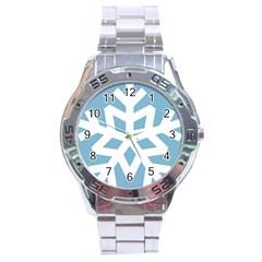 Snowflake Snow Flake White Winter Stainless Steel Analogue Watch by Nexatart