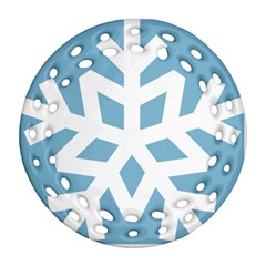 Snowflake Snow Flake White Winter Ornament (round Filigree) by Nexatart