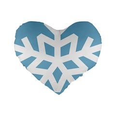 Snowflake Snow Flake White Winter Standard 16  Premium Heart Shape Cushions by Nexatart