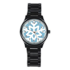 Snowflake Snow Flake White Winter Stainless Steel Round Watch