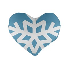 Snowflake Snow Flake White Winter Standard 16  Premium Flano Heart Shape Cushions by Nexatart