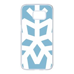 Snowflake Snow Flake White Winter Samsung Galaxy S7 Edge White Seamless Case by Nexatart