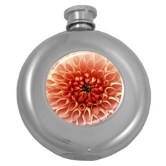 Dahlia Flower Joy Nature Luck Round Hip Flask (5 Oz)