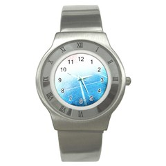 Court Sport Blue Red White Stainless Steel Watch by Nexatart