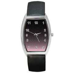 Halftone Background Pattern Black Barrel Style Metal Watch