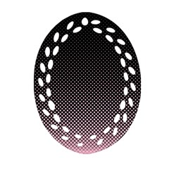 Halftone Background Pattern Black Oval Filigree Ornament (two Sides) by Nexatart