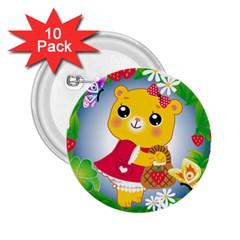 Bear Strawberries 2 25  Buttons (10 Pack)  by Nexatart