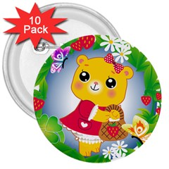 Bear Strawberries 3  Buttons (10 Pack)