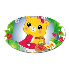 Bear Strawberries Oval Magnet