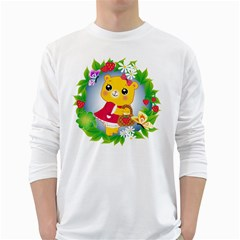Bear Strawberries White Long Sleeve T Shirts