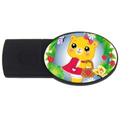 Bear Strawberries Usb Flash Drive Oval (4 Gb) by Nexatart