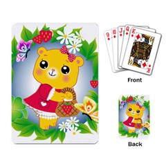 Bear Strawberries Playing Card by Nexatart