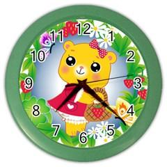Bear Strawberries Color Wall Clocks