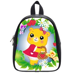 Bear Strawberries School Bag (small) by Nexatart