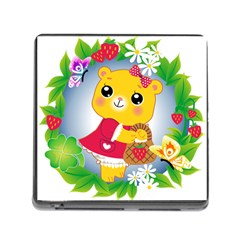 Bear Strawberries Memory Card Reader (square)