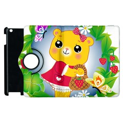 Bear Strawberries Apple Ipad 2 Flip 360 Case by Nexatart