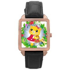 Bear Strawberries Rose Gold Leather Watch