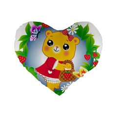 Bear Strawberries Standard 16  Premium Flano Heart Shape Cushions by Nexatart