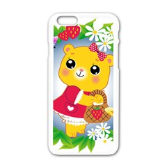 Bear Strawberries Apple Iphone 6/6s White Enamel Case