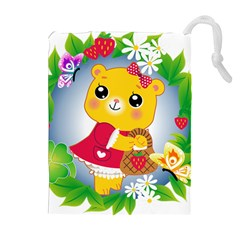 Bear Strawberries Drawstring Pouches (extra Large)