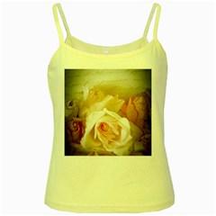Roses Vintage Playful Romantic Yellow Spaghetti Tank