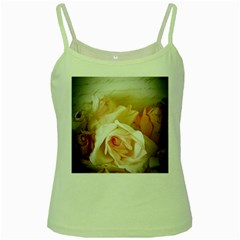 Roses Vintage Playful Romantic Green Spaghetti Tank