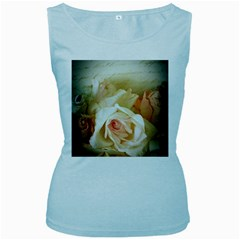 Roses Vintage Playful Romantic Women s Baby Blue Tank Top