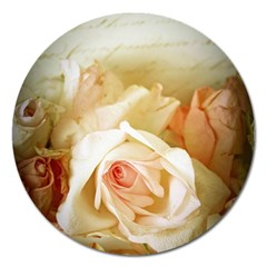 Roses Vintage Playful Romantic Magnet 5  (round) by Nexatart