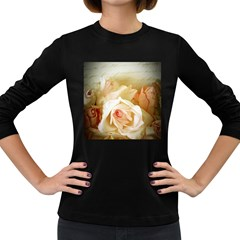 Roses Vintage Playful Romantic Women s Long Sleeve Dark T Shirts