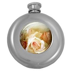 Roses Vintage Playful Romantic Round Hip Flask (5 Oz)
