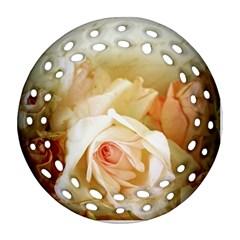 Roses Vintage Playful Romantic Ornament (round Filigree)