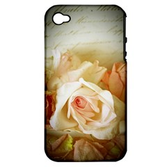 Roses Vintage Playful Romantic Apple Iphone 4/4s Hardshell Case (pc+silicone)