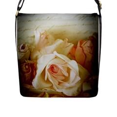 Roses Vintage Playful Romantic Flap Messenger Bag (l)  by Nexatart