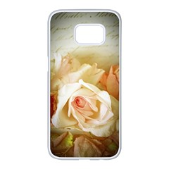 Roses Vintage Playful Romantic Samsung Galaxy S7 Edge White Seamless Case
