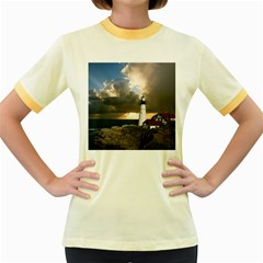 Lighthouse Beacon Light House Women s Fitted Ringer T Shirts by Nexatart