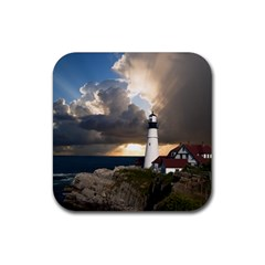 Lighthouse Beacon Light House Rubber Square Coaster (4 Pack)  by Nexatart